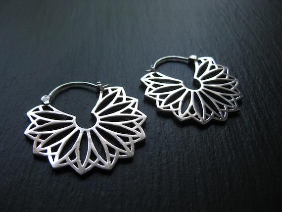 Silver Hoop Earrings Mandala . Statement Hoops . Fan Earrings. Half Circle Earrings . Geometric . FREE SHIPPING CANADA