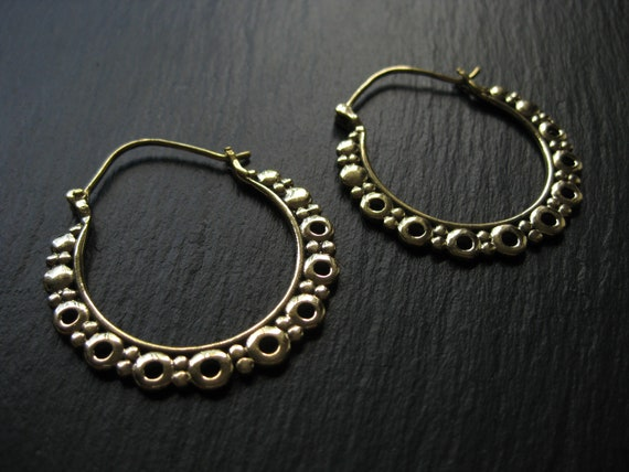 Brass Circle Hoop Earrings . Dotted Hoops . Gold Statement Earrings . Hippie Chic Hoops . Gypsy Soul Jewelry .FREE SHIPPING CANADA