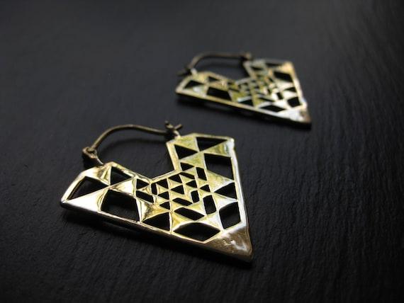 Brass Triangle Hoop Earrings . Sacred Geometry Jewelry . Gold Statement Earrings . Geometric Earrings . FREE SHIPPING Canada