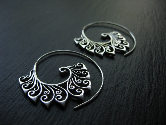 Tribal Spiral Hoops Silver plated Brass Earrings . Ethnic Statement Exotic Chic Jewelry . FREE SHIPPING CANADA