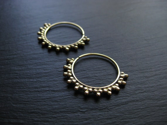 Infinity Brass Hoop Earrings . Infinity Tribal Ethnic Gold Hoops . FREE SHIPPING CANADA