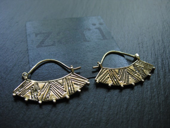 Ethnic Tribal Brass Hoop Earrings . Gypsie Chic Exotic Elegant Jewelry . FREE SHIPPING in CANADA