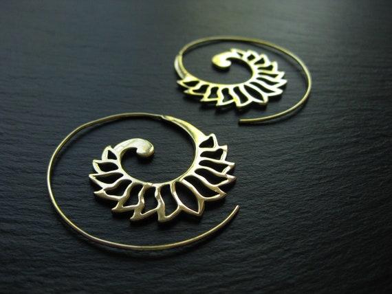 Brass Lotus Flower Spiral Hoop Earrings . Theader Hoops . Exotic Golden Earrings . Ethnic Jewelry . Festival Earrings .FREE SHIPPING CANADA