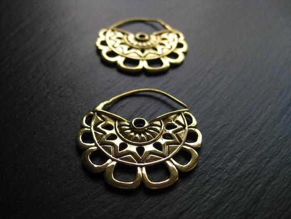 Exotic Brass Hoop Earrings . Mayan Gold Statement Earrings . Ethnic Jewelry . Gauge Hoops . Flower Earrings . FREE SHIPPING CANADA