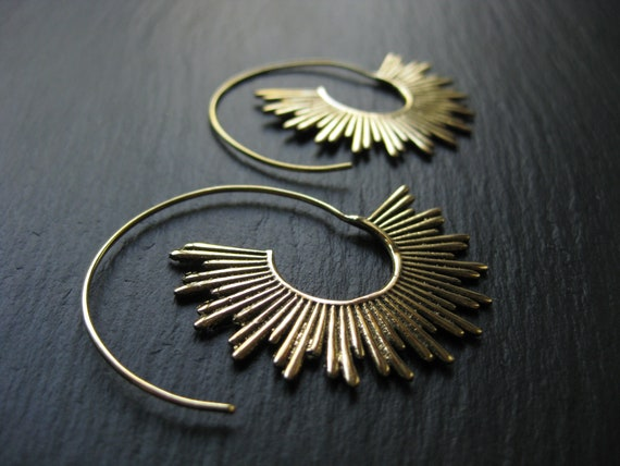 Sunshine Brass Spiral Threader Hoop Earrings . FREE SHIPPING in CANADA