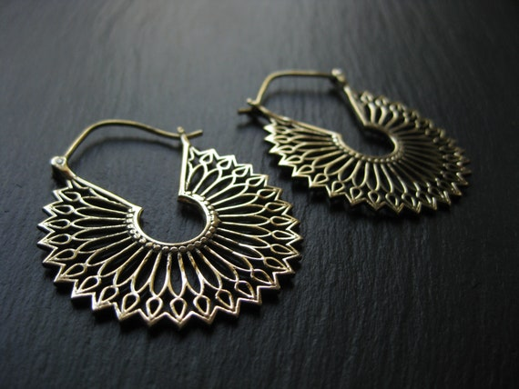 Aditya Brass Hoops . Elegant Statement . FREE SHIPPING CANADA