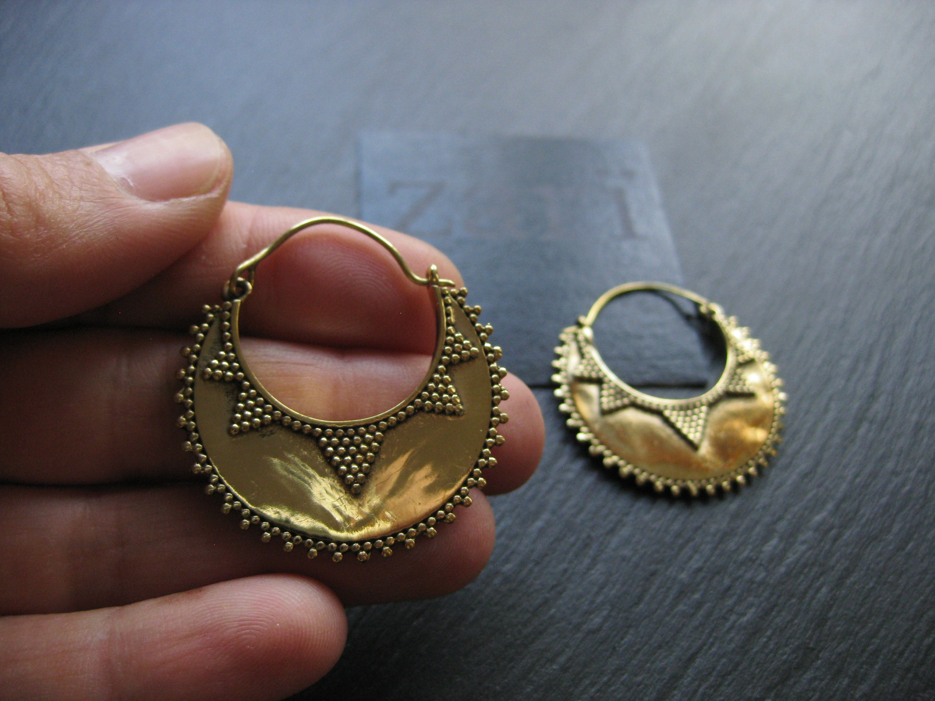 71d17af041914 Elegant & Exotic Crescent Brass Hoop Earrings . Ethnic Chic . FREE ...