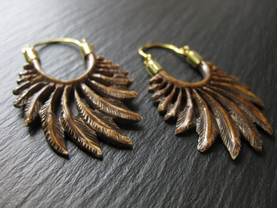 Wing Earrings . Carved Bone Feather Earrings . Brass Hoops . Exotic Statement Earrings . Bohemian Hippie Chic Jewelry . FREE SHIPPING CANADA