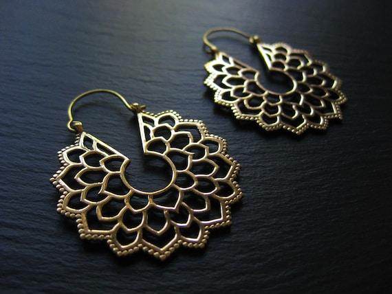 Mandala Flower Brass Hoop Earrings . Goddess Boho Hippie Chic Jewelry . Statement Sexy Hoops . Festival Earrings . FREE SHIPPING CANADA