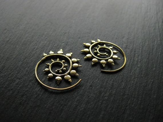 Small Spiky Brass Hoop Earrings . Tribal Gypsy Ethnic Chic Jewelry . FREE SHIPPING Canada