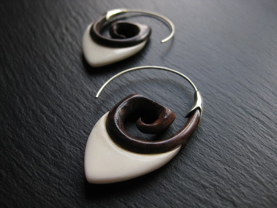 Wood + Bone Sterling Silver Hoop Earrings . Spiral Threader . Modern Hippie Chic Exotic Jewelry . FREE SHIPPING in CANADA