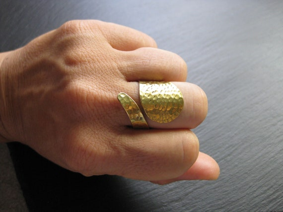 Hammered Brass Wrap Ring Adjustable .  Open Band Ring . Ethnic Boho Jewellery . Long Chunky Ring . Cuff Ring . Textured Gold Metal Ring