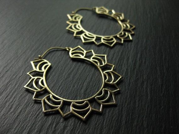 Mandala Brass Statement Hoop Earrings . Dainty Tribal Ethnic Boho Chic . Big Hoops . Light Earrings . FREE SHIPPING CANADA