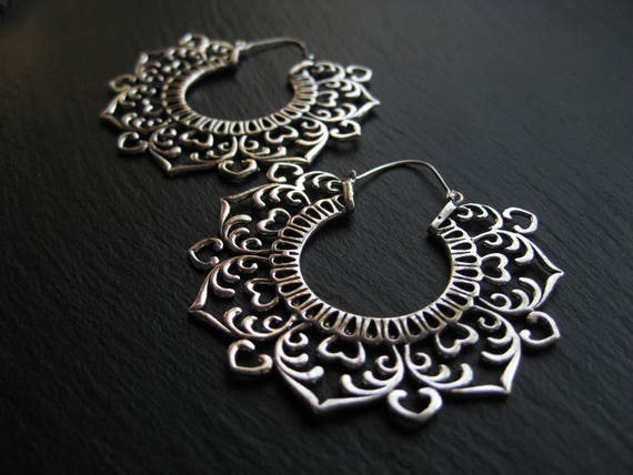 Jumbo Statement Hoops Earrings . Silver Plated Brass . Tribal Ethnic Boho Chic Jewelry . FREE SHIPPING CANADA . ZARIboutik