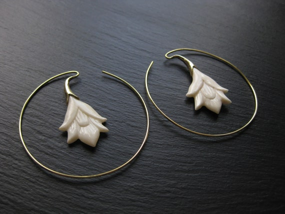 Handcarved Flower Brass Hoop Earrings . Bone Organic Natural Jewelry . Wedding Statement Earrings . Festival Jewelry . FREE SHIPPING Canada
