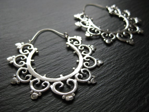 Mandala Silver Hoops . Bohemian Earrings . Gauge Hoops . Tribal Boho Chic Festival Earrings . FREE SHIPPING in CANADA