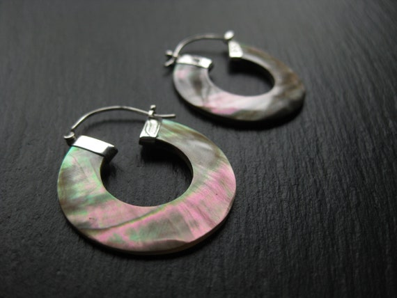 Sterling Silver Mother of Pearl Hoops . FREE SHIPPING Canada