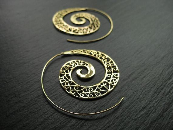 Filigree Spiral Hoop Earrings . Brass Threader . Light Earrings . Gypsy Gold Earrings . Boho Hippie Chic Jewelry . FREE SHIPPING Canada