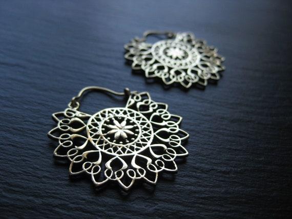 Dainty Mandala Brass Hoops Earrings in Gold . Bohemian Boho Jewelry . Hippie Chic . Sacred Geometry Jewellery . FREE SHIPPING CANADA