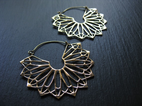 Mandala Hoop Earrings . Snowflake Earrings . Sacred Geometry . Gauge Hoops . Big Statement Earrings . Light Earrings . FREE SHIPPING CANADA