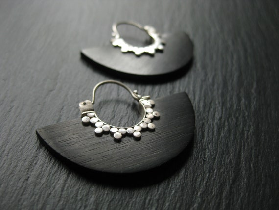 Disc Hoop Earrings . Sterling Silver & Wood . FREE SHIPPING CANADA
