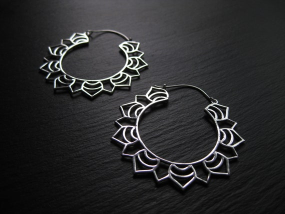 Mandala Statement Hoop Earrings . Silver Plated . Dainty Tribal Ethnic Boho Chic . Big Hoops . Light Earrings . FREE SHIPPING CANADA
