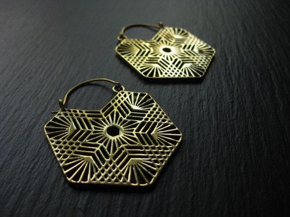 MANDALA Brass Hoop Earrings . Snowflake Earrings . Big Hoops . Elegant Bohemian Festival Earrings . FREE SHIPPING Canada