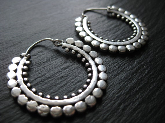 Silver Tribal Hoop Earrings . Modern Urban Gypsy Jewelry . Ethnic Boho Chic . FREE SHIPPING in Canada