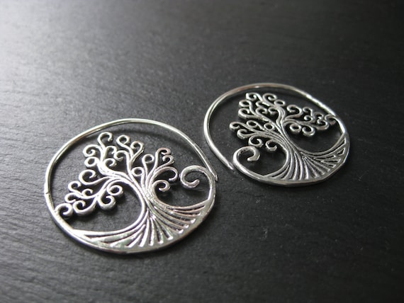 Tree of Life Earrings . Silver Hoops Spiral Threader . FREE SHIPPING in CANADA