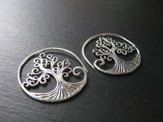 Tree of Life Earrings . Silver Hoops Spiral Threader . Boho Hippie Chic Jewelry . FREE SHIPPING CANADA . zarishop