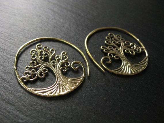Tree of Life Hoop Earrings . Brass Spiral Earrings . FREE SHIPPING in CANADA