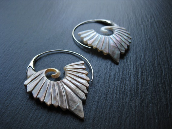 Carved Shell Hoop Earrings w/ Sterling Silver Threader . Mother of Pearl Jewelry . Exotic Tribal Ethnic Chic Jewelry