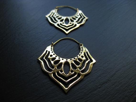 Butterfly Wing Earrings . Brass Hoops . Statement Earrings . Golden Hoop Earrings . Ethnic Exotic Bohemian Jewelry . FREE SHIPPING CANADA