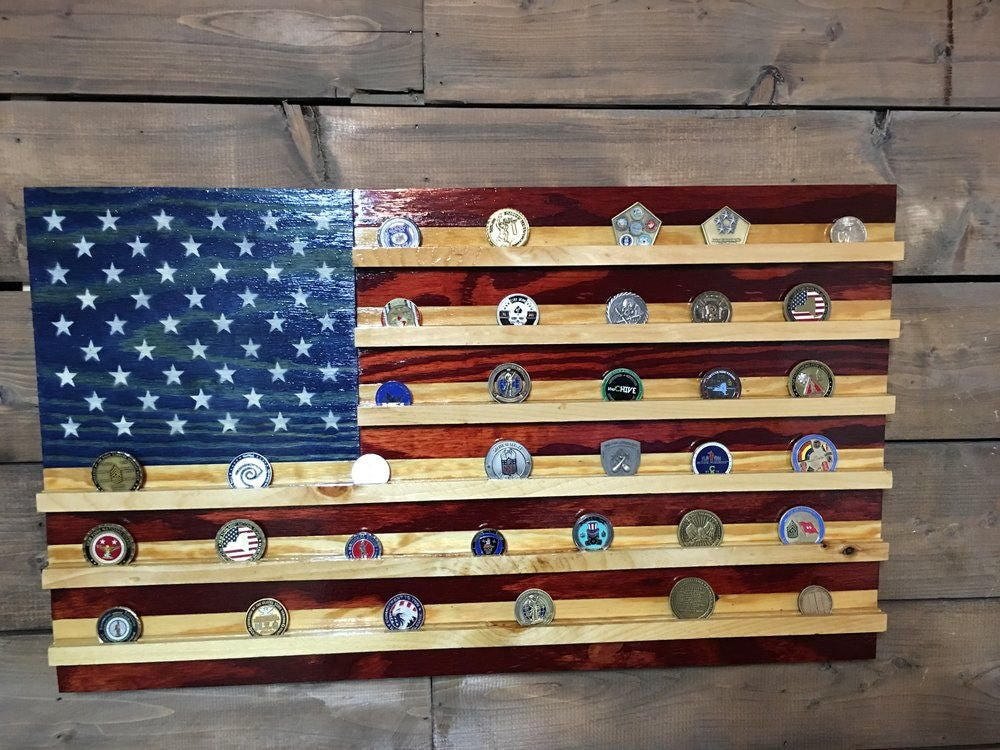 Challenge Coin Holder Rustic American American Flag Etsy