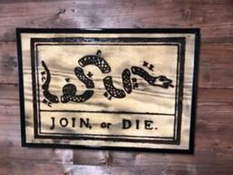 Join Or Die Flag Wood Flag Wall Decor Art Wall Hanging Patriotic Handmade Sign