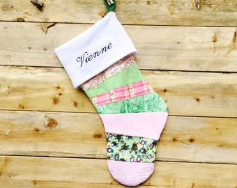 Christmas Stocking:Pink and Green