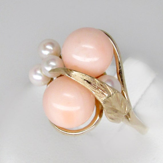 coral ring, angel coral ring, pink coral ring, vin