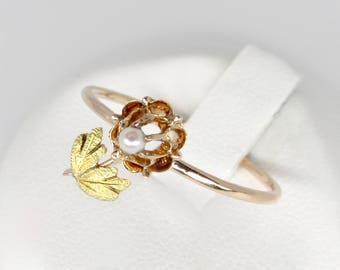 gold flower ring, vintage 14k gold floral ring, pearl flower ring, pearl floral ring,  gold midi  ring, tiny flower ring, botanical ring