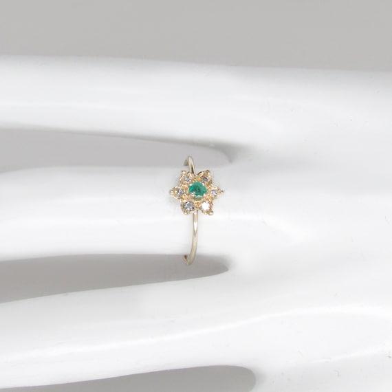 emerald ring, emerald diamond ring, emerald flowe… - image 5