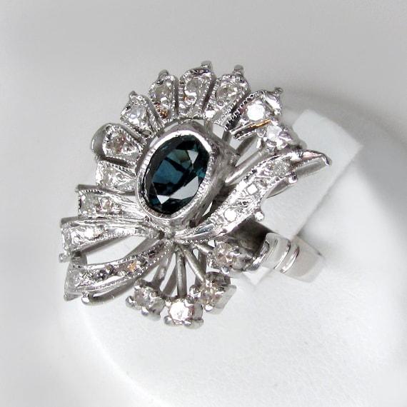 sapphire ring, sapphire damond ring, art deco sap… - image 1