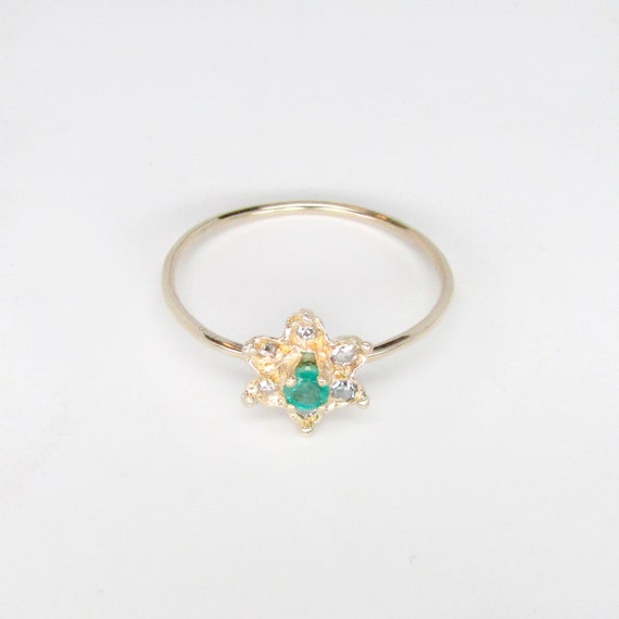 emerald ring, emerald diamond ring, emerald flowe… - image 7