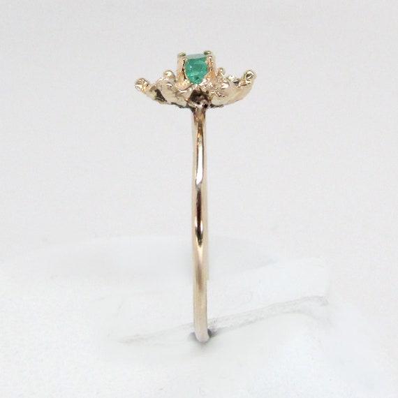 emerald ring, emerald diamond ring, emerald flowe… - image 9