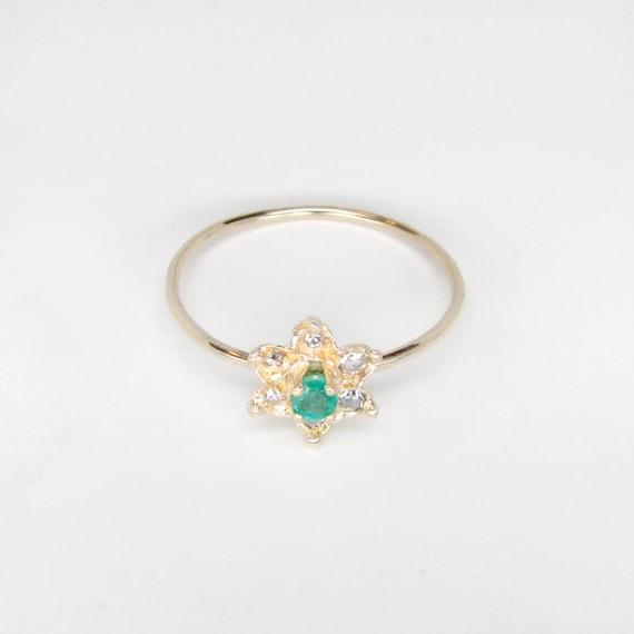 emerald ring, emerald diamond ring, emerald flowe… - image 2