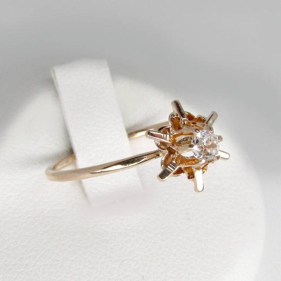 gold diamond ring, antique diamond ring, gold sol… - image 1