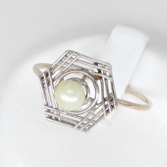 14k gold pearl ring, white pearl ring, art deco ri