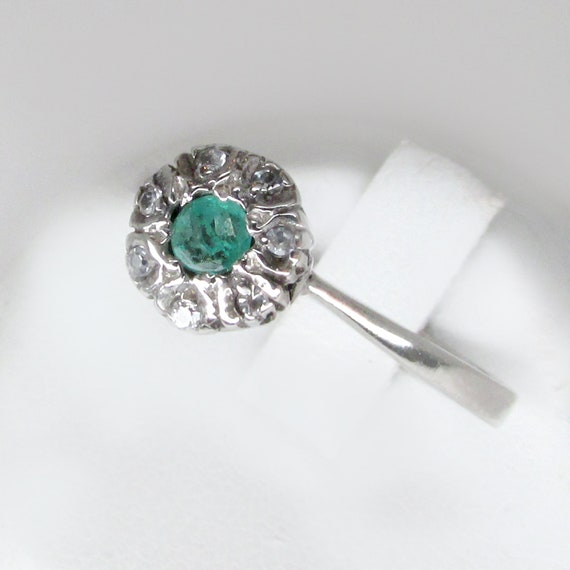 palladium ring, art deco ring, emerald ring, emera