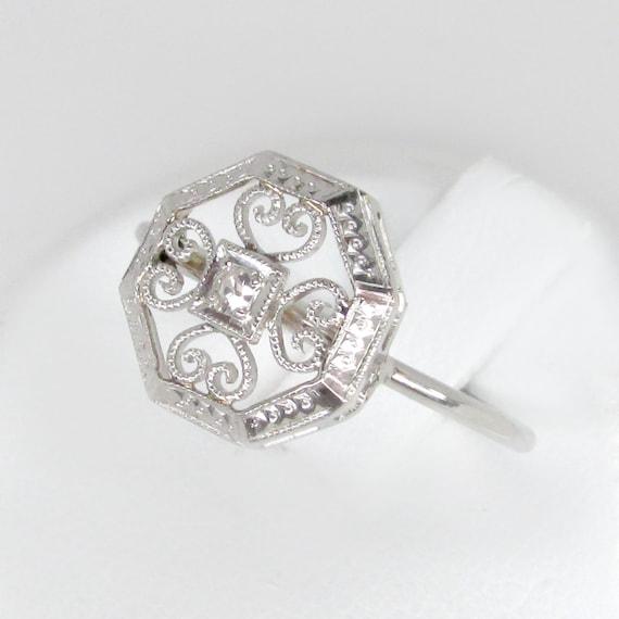 art deco ring, white gold diamond ring, rose cut d
