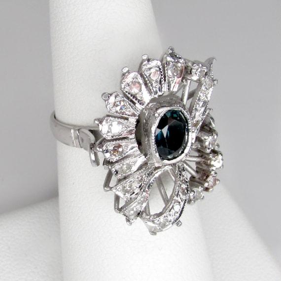 sapphire ring, sapphire damond ring, art deco sap… - image 8