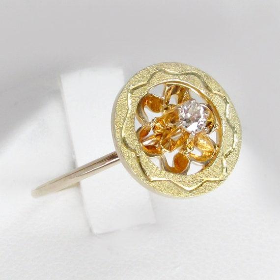 14k gold diamond ring, art deco ring, art deco dia