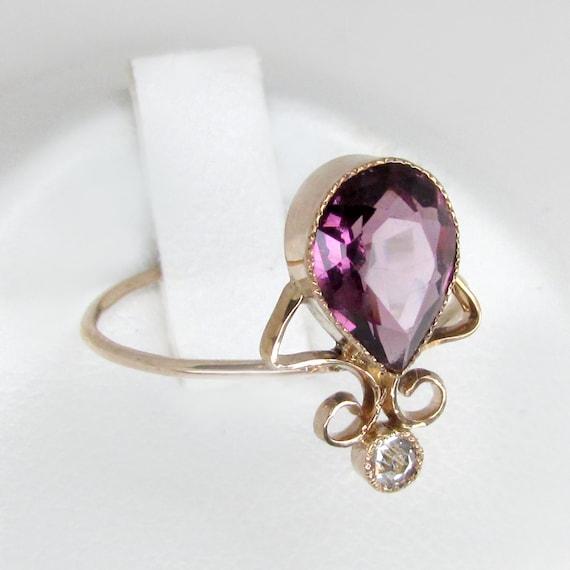 gold amethyst ring, gold diamond ring,  art deco d